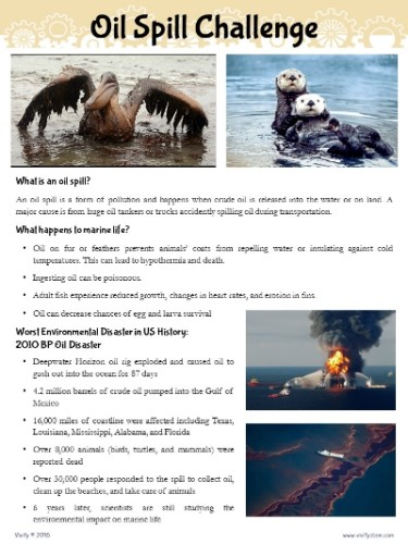 Real-World connection - Page from Vivify's Oil Spill Challenge Product, Click for more information